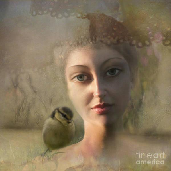 Wall Art - Photograph - A Girl With A Little Bird On Her Shoulder by Angel Ciesniarska