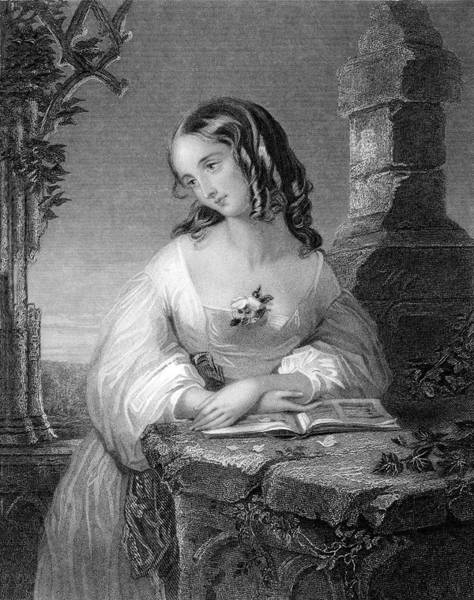 Twilight Drawing - A Girl With Ringlets Reading Poetry by Mary Evans Picture Library