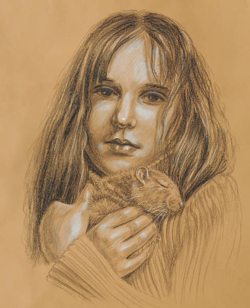 Pet Portrait Drawing - A Girl With The Pet by Irina Sztukowski