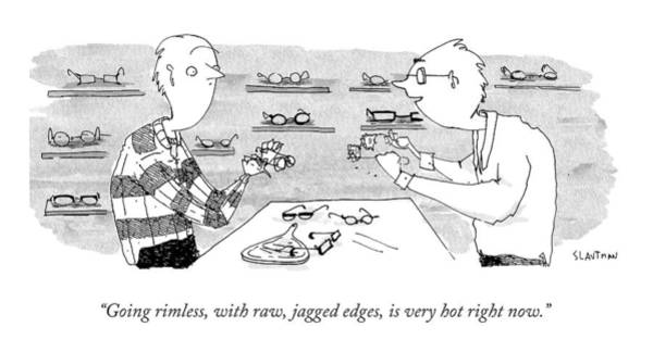 Edge Drawing - A Glasses Salesmen Holds Up A Pair Of Glasses by Sara Lautman