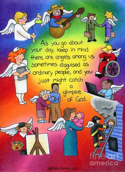 Gods Children Wall Art - Drawing - A Glimpse by Sarah Batalka