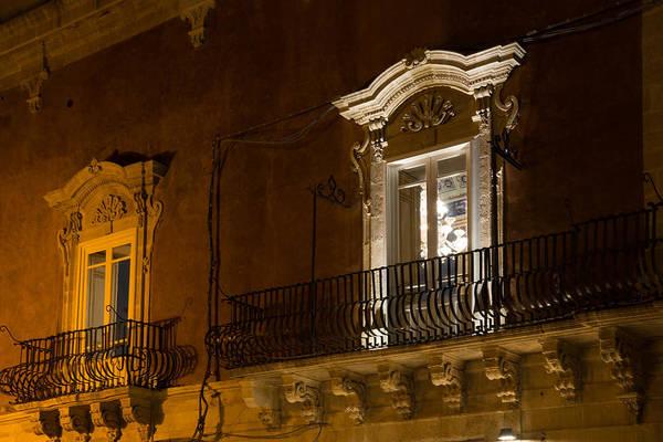 Photograph - A Glimpse Through The Windows - Sicilian Baroque Palace And Venetian Chandelier  by Georgia Mizuleva