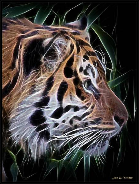 Painting - A Glowing Tiger Profile by Jon Volden
