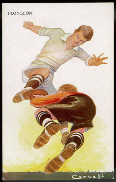 Wall Art - Drawing - A Goalkeeper Makes A Brave  Save by Mary Evans Picture Library