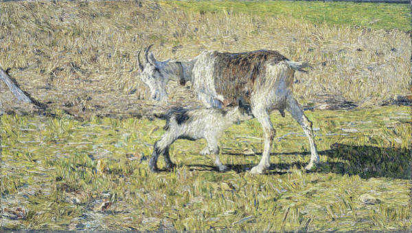 Wall Art - Painting - A Goat With Her Kid, Giovanni Segantini, Italian Painter by Litz Collection