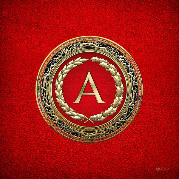 Digital Art - A - Gold Vintage Monogram On Red Leather by Serge Averbukh