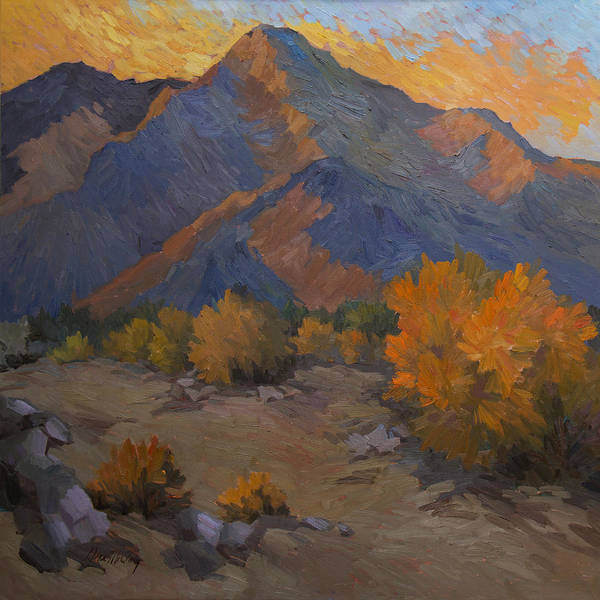 La Quinta Wall Art - Painting - A Golden Sky by Diane McClary