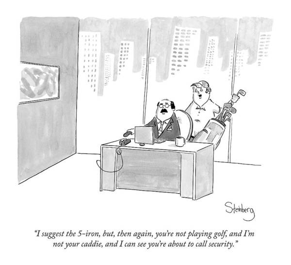 5 Drawing - A Golf Caddie Stands Behind A Ceo At His Desk by Avi Steinberg