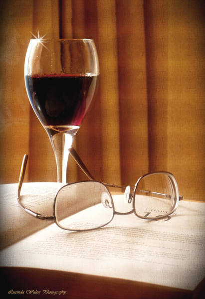 Photograph - A Good Book And A Glass Of Wine by Lucinda Walter