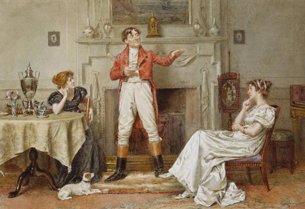 Seat Painting - A Good Story by George Goodwin Kilburne