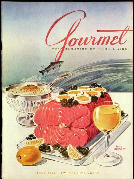 Alcoholic Drink Photograph - A Gourmet Cover Of Poached Salmon by Henry Stahlhut
