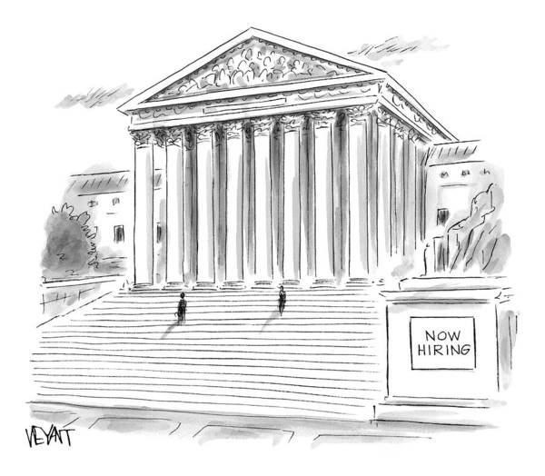 Hiring Drawing - A Government Building Is Seen With A Now Hiring by Christopher Weyant