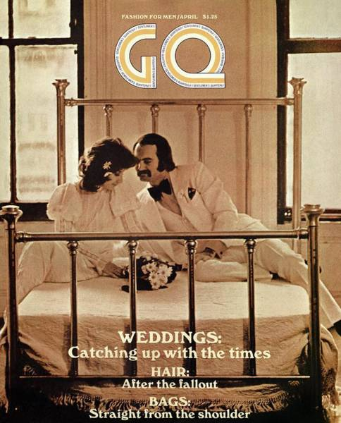 A Gq Cover Of A Bridal Couple Art Print by Arthur Elgort