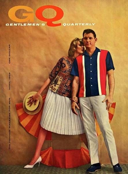 Yellow Background Photograph - A Gq Cover Of Male And Female Models by Melvin Sokolsky