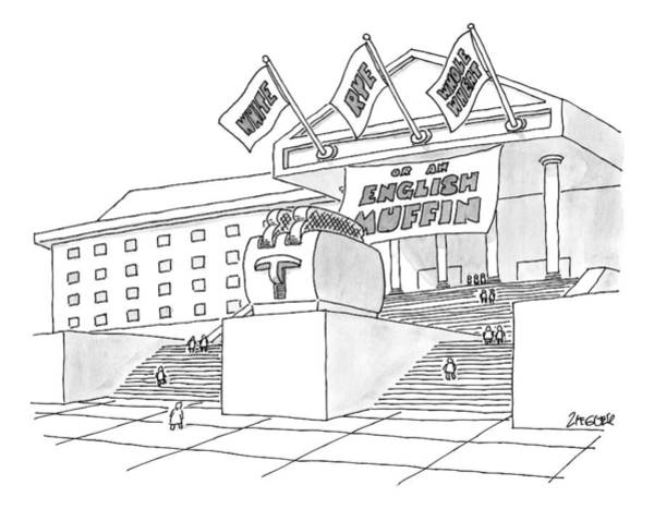 Monument Drawing - A Grand Institution With A Large Toaster Statue by Jack Ziegler