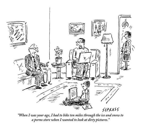 Laptop Drawing - A Grandfather Regales His Son And Grandson by David Sipress