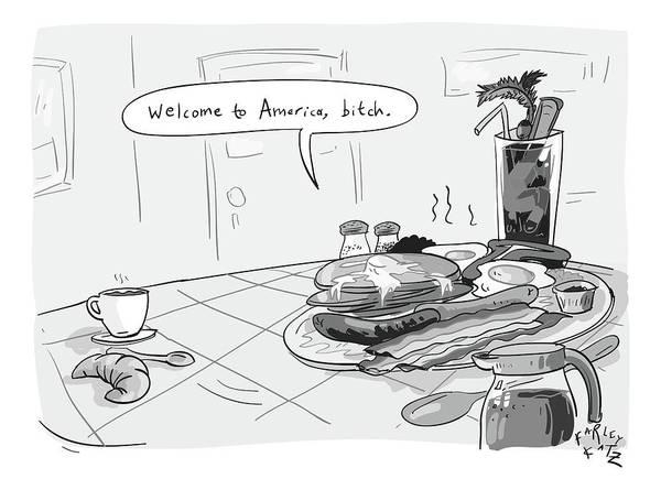 Breakfast Drawing - A Greasy Plate Of Pancakes by Farley Katz