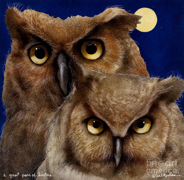 Owl Painting - A Great Pair Of Hooters... by Will Bullas