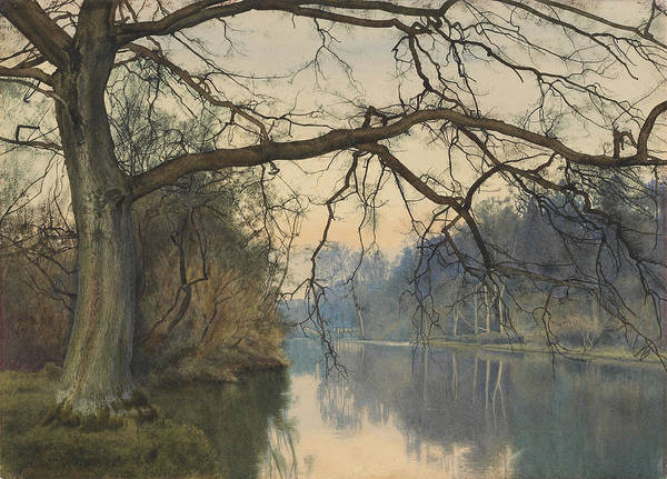 Riverbank Painting - A Great Tree On A Riverbank by William Fraser Garden