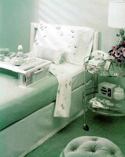 Breakfast Photograph - A Green Bedroom With A Breakfast Tray On The Bed by Haanel Cassidy