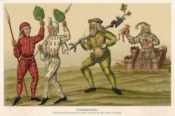 Folklore Drawing - A 'green Man' Figures Among by Mary Evans Picture Library