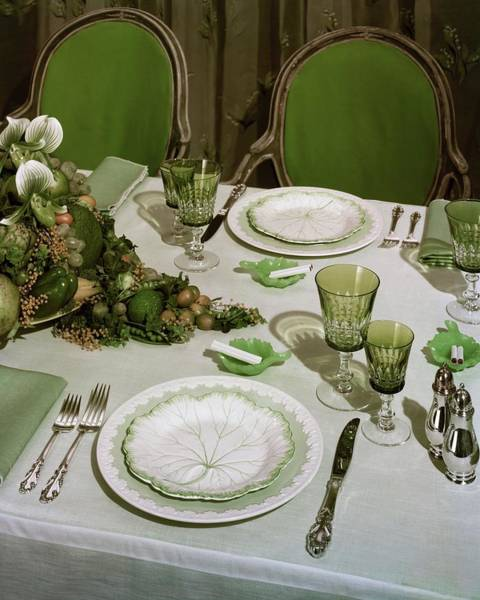 Table Setting Photograph - A Green Table Setting by Wiliam Grigsby