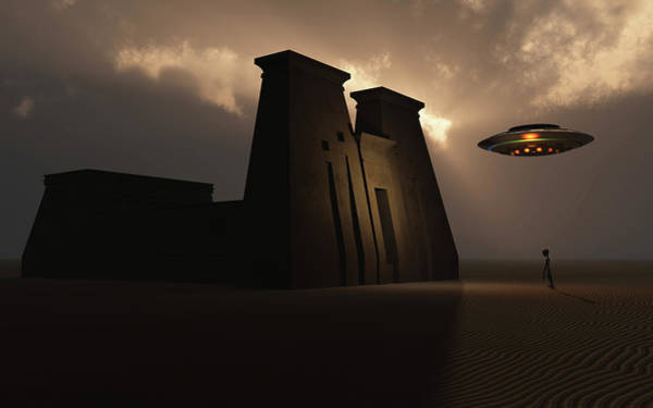 Ufology Photograph - A Grey Alien And Its Flying Saucer by Mark Stevenson