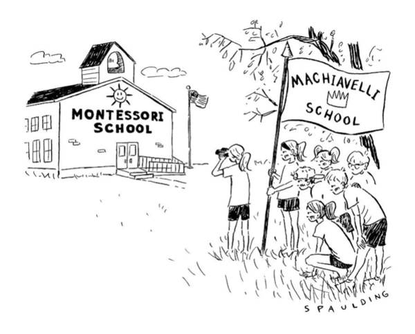 Schools Drawing - A Group Holding A Flag That Says Machiavelli by Trevor Spaulding