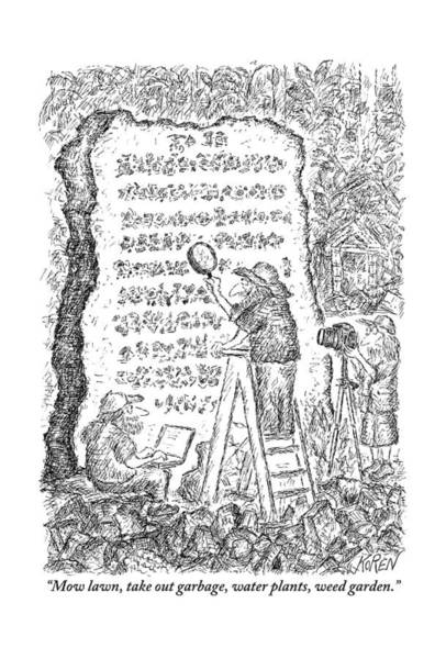 Stone Drawing - A Group Of Archaeologists Decipher A Large by Edward Koren