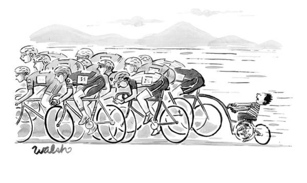 Race Drawing - A Group Of Bikers Race Competitively. At The End by Liam Walsh