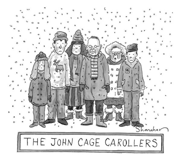 Singer Drawing - A Group Of Carolers Stands In The Snow by Danny Shanahan