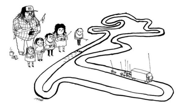 Race Drawing - A Group Of Children And A Truck Driver Direct by Edward Steed