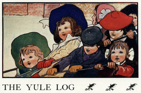 Log Drawing - A Group Of Children Pull In  The Yule by Mary Evans Picture Library