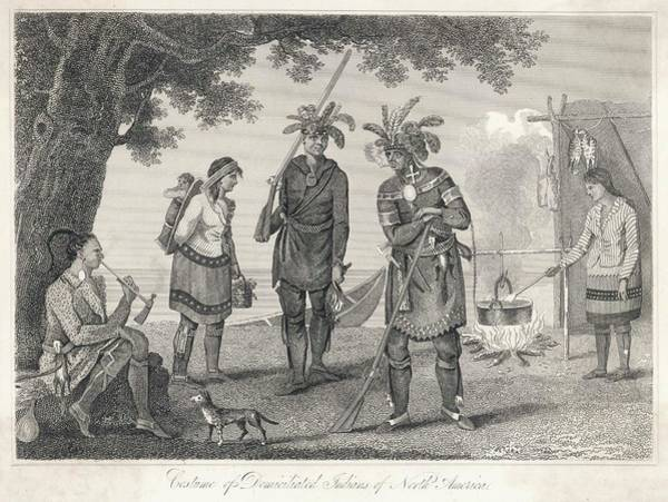 Wall Art - Drawing - A Group Of 'domiciliated  Indians' by Mary Evans Picture Library