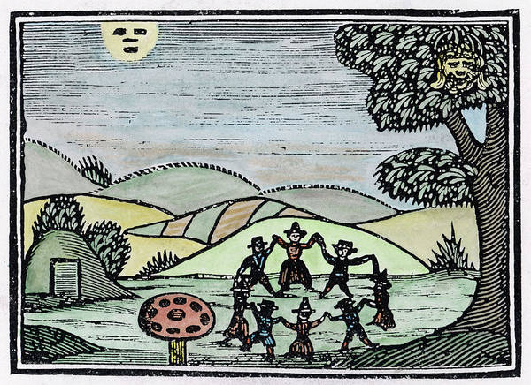 Folklore Drawing - A Group Of Fairies Dancing In  A Ring by Mary Evans Picture Library