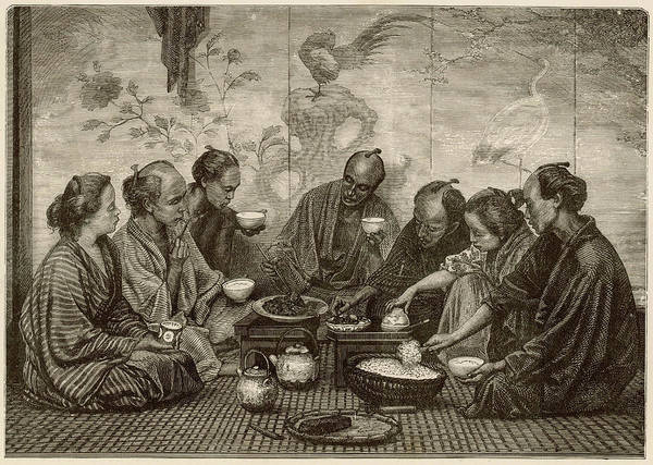 Mat Drawing - A Group Of Japanese People,  Seated by Mary Evans Picture Library