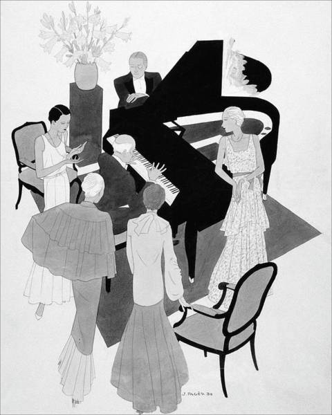 People Digital Art - A Group Of People Around A Piano At A Party by Jean Pages