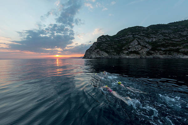 Portofino Photograph - A Group Of Swimmers Swimming by Raffi Maghdessian