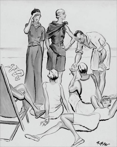 Polo Digital Art - A Group Of Young People On The Lido Beach by Rene Bouet-Willaumez