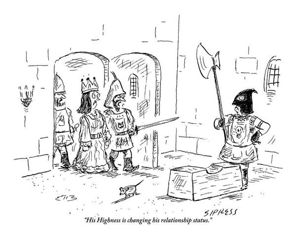 Prepare Drawing - A Guard Leading A Queen Speaks To An Executioner by David Sipress