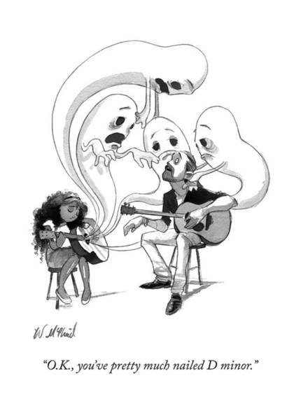 Teachers Drawing - A Guitar Teacher Speaks To His Student by Will McPhail