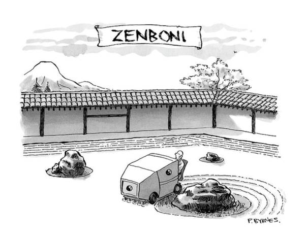 Zen Drawing - A Guy Is Driving Around A Zen Garden Making by Pat Byrnes
