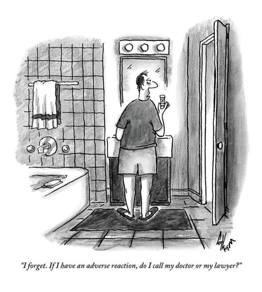 Bathroom Drawing - A Guy Is Standing In Front Of The Mirror by Frank Cotham