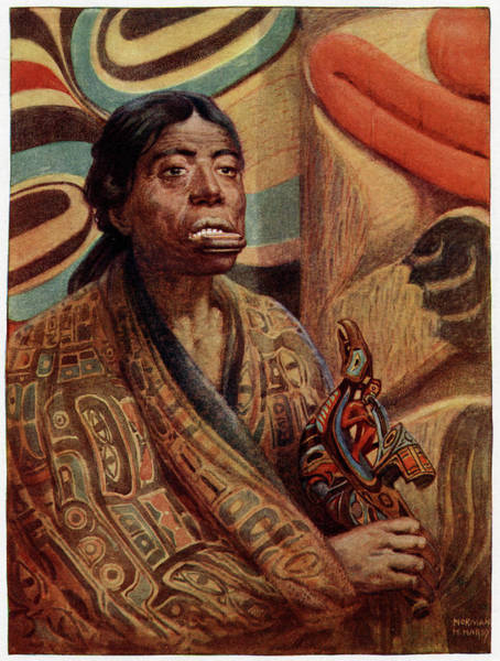 Wall Art - Drawing - A Haida Woman Of Queen  Charlotte by Mary Evans Picture Library