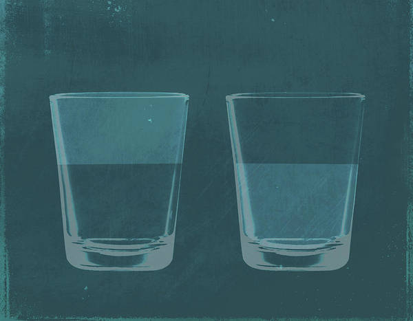 Drinking Glass Digital Art - A Half Full Glass Of Water Next To A by Malte Mueller