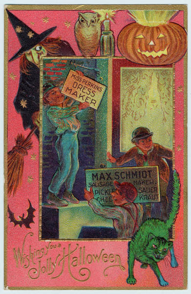 Early 20th Century Drawing - A Hallowe'en Witch Offers  Suitable by Mary Evans Picture Library