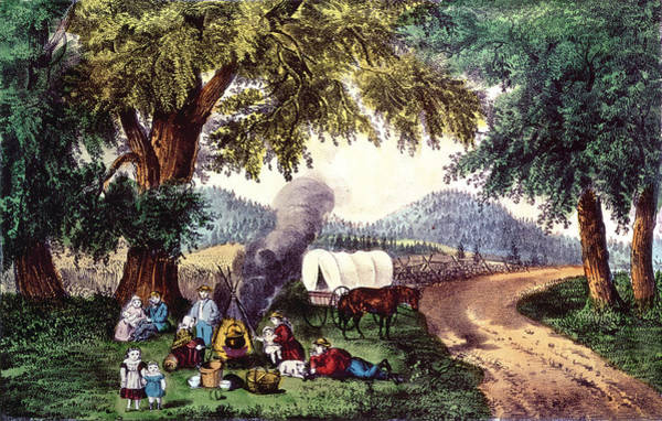 Currier And Ives Painting - A Halt By The Wayside  by Currier and Ives