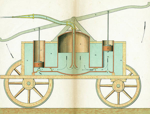 Pump Drawing - A Hand Pump Fire Engine by Mary Evans Picture Library