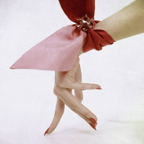 Glamour Photograph - A Hand With A Wrist Scarf by Clifford Coffin