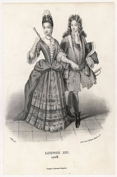 Courtiers Drawing - A Handsome Young Couple From  The Court by Mary Evans Picture Library